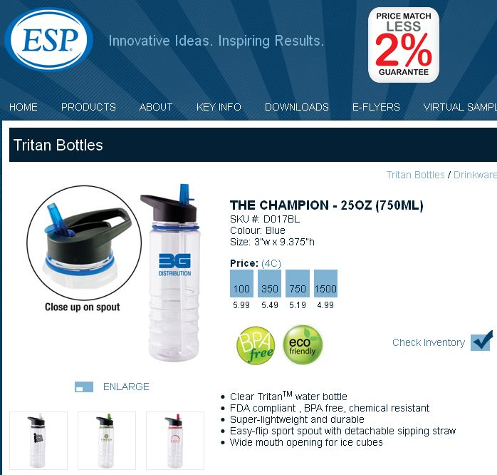 ESP-THE CHAMPION - 25OZ (750ML)  D017BL http://www.creatchmanpromo.ca/