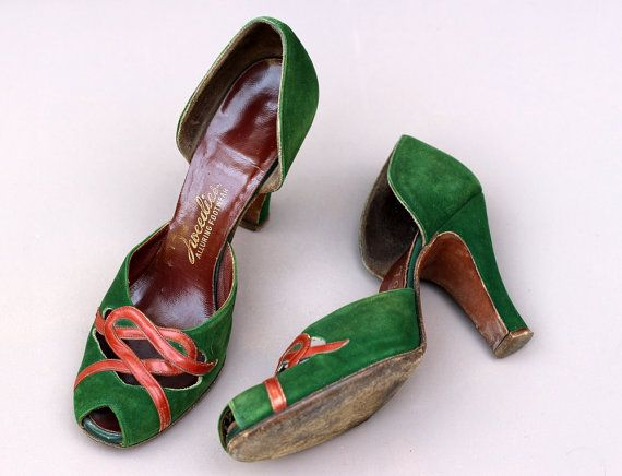 Vintage 1940s 40s Green Suede Peeptoe Court Shoes Knotted Heart Detail UK 3.5 US 6 high heels tan 3 5.5