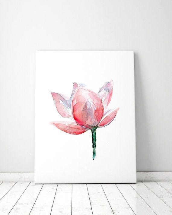 Roze Lotus schilderij  Aquarel Lotus  roze Bloem  door Zendrawing