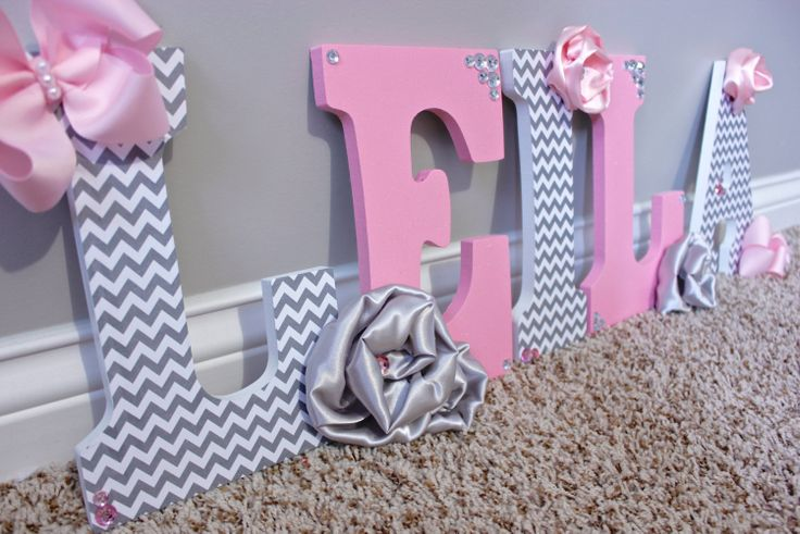 Couture pink and grey wall letters Wooden by MiaMonroeBoutique, $13.00