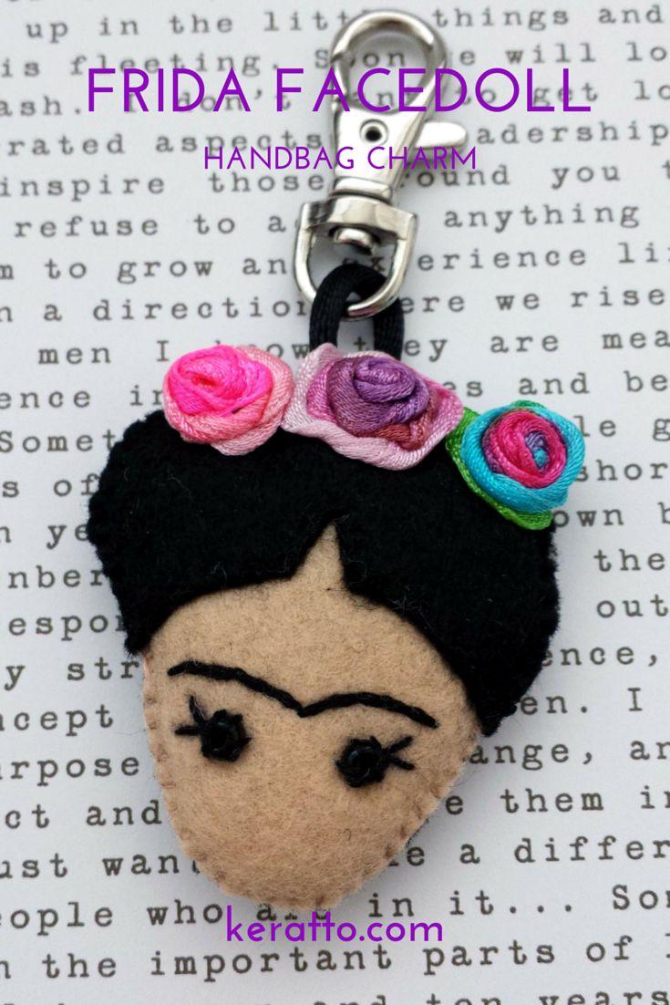 Frida Facedoll in pink and blue, handmade in felt. Frida Kahlo Keka❤❤❤