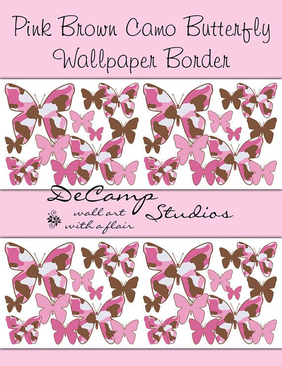 Pink Brown Camo Butterfly Wallpaper Border Wall Art Decals for baby ...