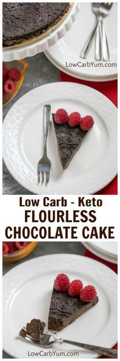 A dense flourless chocolate cake for those following a low carb keto diet. It's a simple dessert that only requires five common ingredients. | LowCarbYum.com