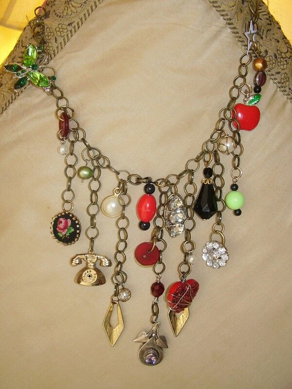 Junk jewelry colorful vintage. Beautiful neckless for cocktail party