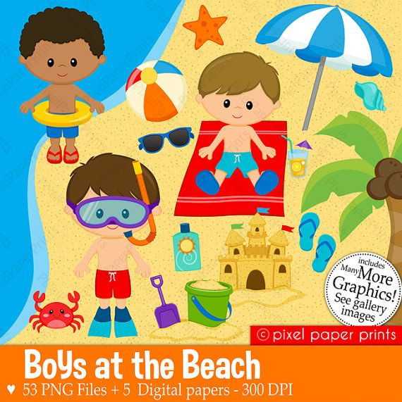 Boys at the Beach Clipart  Clip Art and by pixelpaperprints