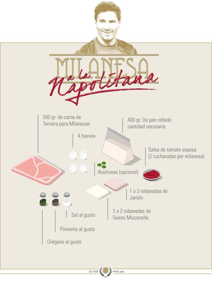 Learn how to prepare a Milanesa (breaded-beef steak) like Messi's mom does. // Aprende a preparar una Milanesa Napolitana como lo hace la mamá de Messi. http://olivermag.com/milanesa-la-napolitana-de-la-mama-de-messi/ #Messi #Recipes #Recetas #Milanesa #Preparación #Steak