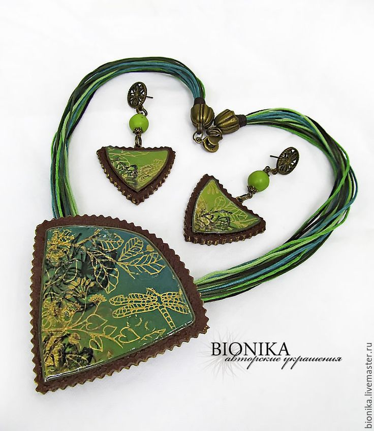Комплект из полимерной глины «На лесной опушке». Кулон, серьги. - оливковый, хаки, зеленый. set of polymer clay, earrings and pendant made of polymer clay. Bionika- handmade/