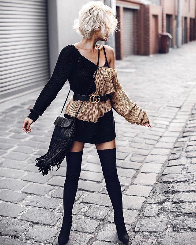 Oversized sweater & thigh highs kinda day  @houseofharlow1960 knit via @revolve