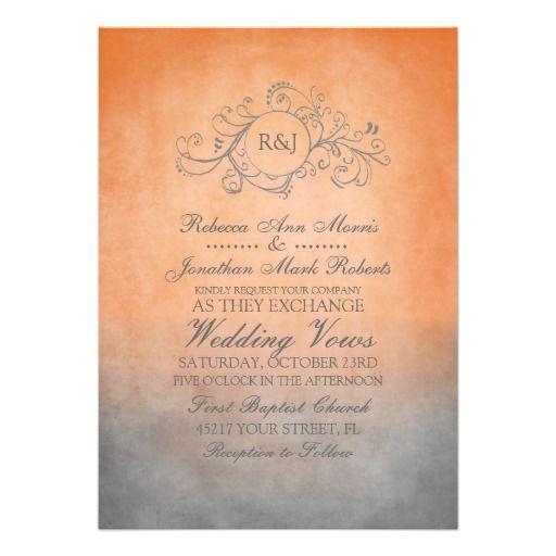 Orange and Gray Wedding Invitations | Rustic Orange and Grey Bohemian Wedding Invitation | Zazzle.co.uk