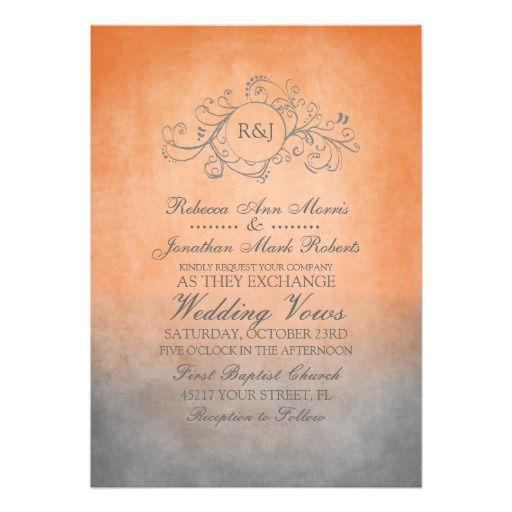 Orange and Gray Wedding Invitations | Rustic Orange and Grey Bohemian Wedding Invitation | Zazzle.co.uk