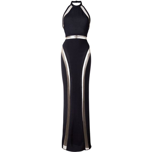 Balmain sheer panel evening gown found on Polyvore featuring dresses, gowns, vestidos, black, evening dresses, long gown, evening cocktail dresses, halter top evening gowns and cocktail dresses