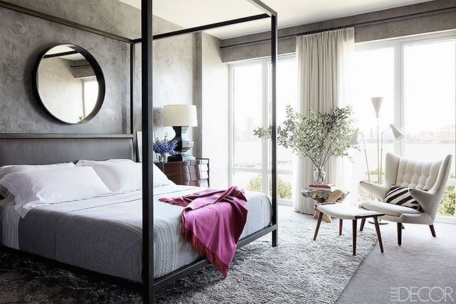 Grey bedroom designed by Shawn Henderson complete with Papa Bear chair. Photo by Björn Wallander.