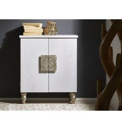 Aparador 2 puertas madera blanca envejecida tallada dorado exótica