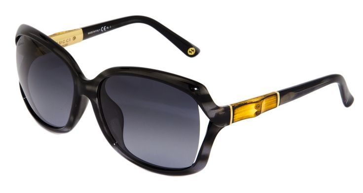 GUCCI Square GG3685FS Grey Horn Gold BAMBOO Sunglasses Asian Fit 3685. GG3685FS Color 6UDHD, accompanied with an original Triangular case with envelope flap closure and Guccissima pattern and a cleaning cloth and information note.