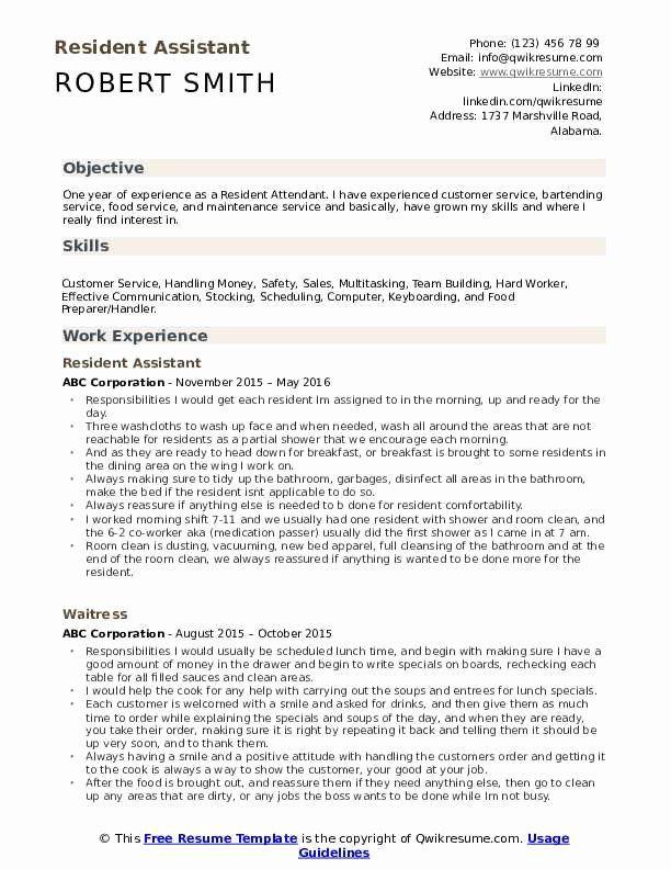 Resident Assistant Job Description Resume Luxury Resident Assistant Resume Samples In 2020 Resident Assistant Assistant Jobs Kindergarten Worksheets Printable