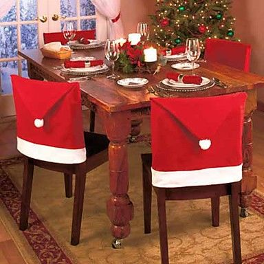 Set of 4 Santa Red Hat Chair Covers Christmas Decorations Dinner Chair Xmas Cap Sets – USD $ 12.79
