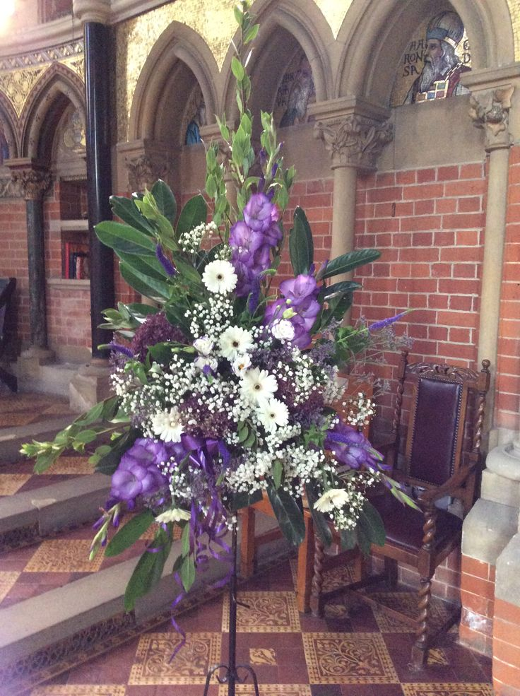 Purple and ivory pedestal