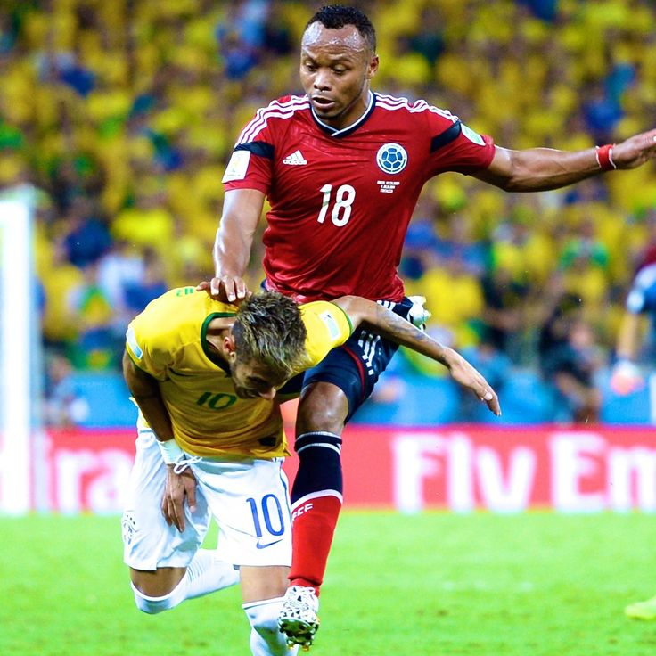 """Neymar Ruled out of 2014 World Cup After Fracturing Vertebra vs. Colombia. """"Moments after a thrilling 2-1 victory over Colombia in the quarterfinals of the 2014 FIFA World Cup, Brazil fans are suffering the agony of seeing their top player pick up a serious injury. Neymar was kneed in the back during the final minutes of the match and was immediately stretchered off the pitch. As Fox Soccer Trax reported, he was taken to the hospital right away."""""""