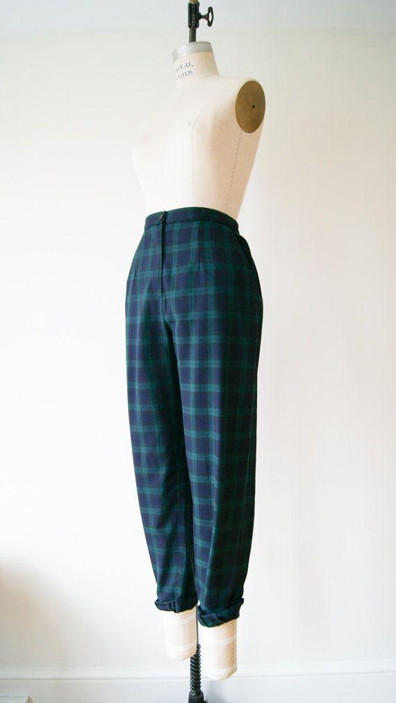 Plaid Pants. Vintage 80s Green and Navy Blue Tartan Plaid Trousers. High Waist Pants. Medium / Large.