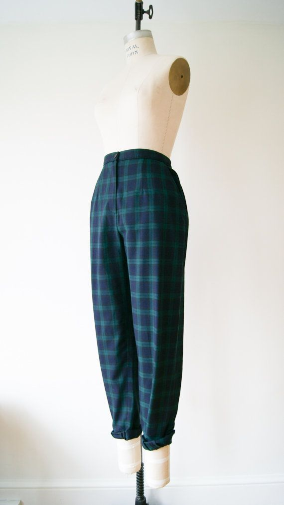 Plaid Pants. Vintage 80s Green and Navy Blue Tartan Plaid Trousers. High Waist Pants. Medium / Large.