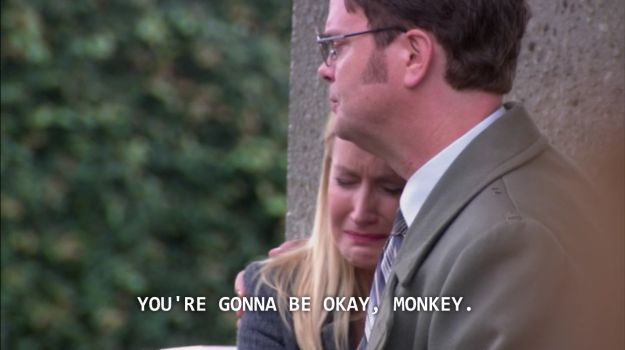 "And when he let her cry on his shoulder: | 19 Times Angela And Dwight From ""The Office"" Were Actual Relationship Goals"