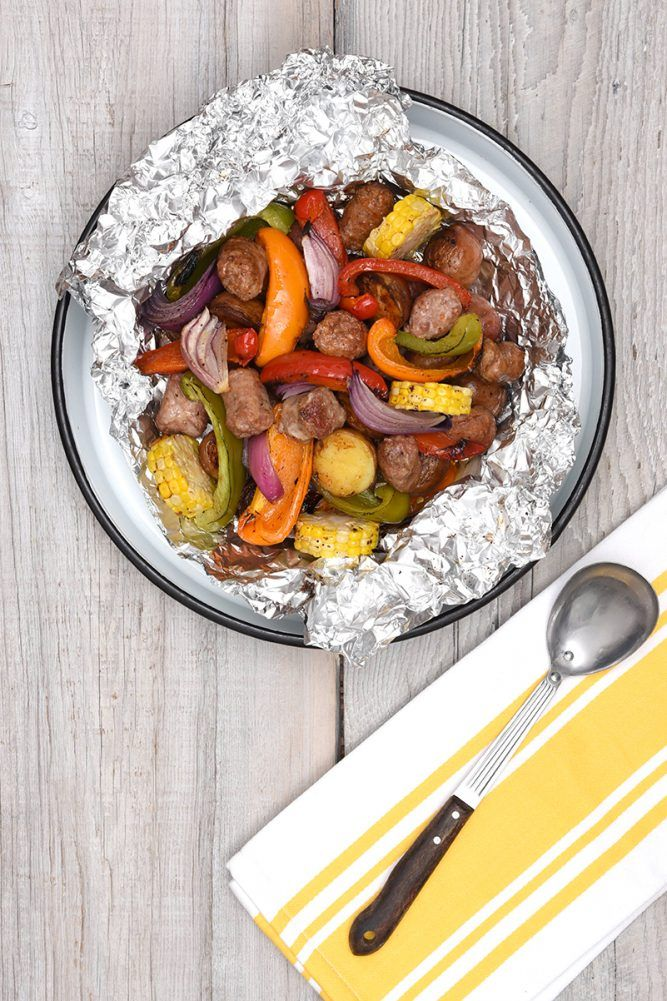BBQ Turkey Sausage, Potatoes and Vegetable Foil Packs (w/giveaway)
