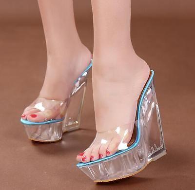 Womens Ladies Peep Toe Mules HOT Wedge Heels Platform Clear Transparent Sandals