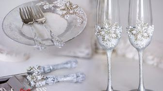 Silver wedding wedding set (wedding champagne glasses, wedding unity candles, wedding pillow, flower basket, wedding plate and cake server) for winter wedding. Let your wedding day be the happiest event in your life with DiAmoreDS wedding accessories. We will take care even of the smallest details so that they look just perfect.
