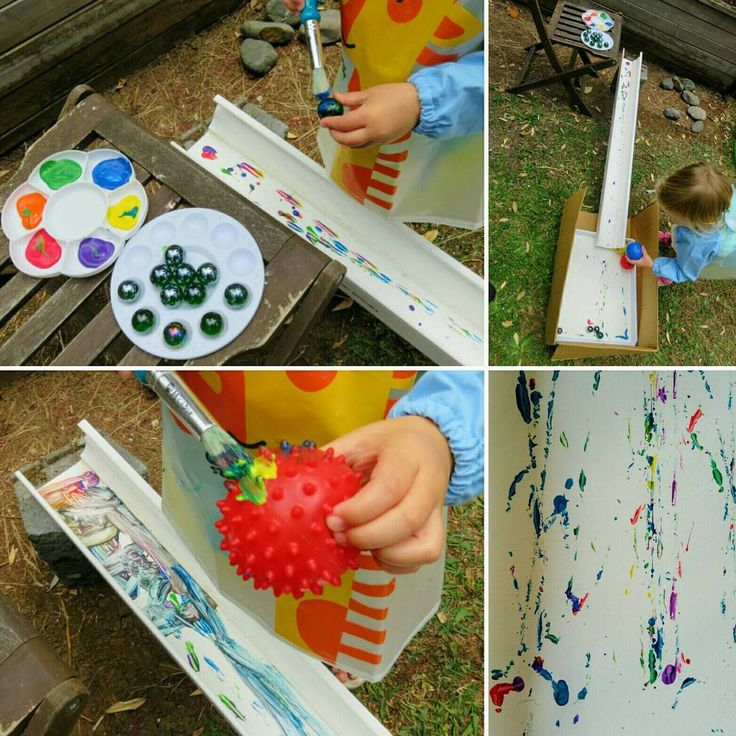 Another use for the guttering the builders left behind 🎨 I created an art experience for Miss 3. She rolled marbles in paint and slid them down the gutter into a box with paper on the base. She asked for a brush and chose to paint the marbles and then the ballpit balls before sending them on their journey 🎨She also loved seeing her tiny face in the reflection of the marbles 💖 #creativeplayideas #creativekids #earlychildhood #earlychildhoodeducation #earlylearning #painting #kidsart…