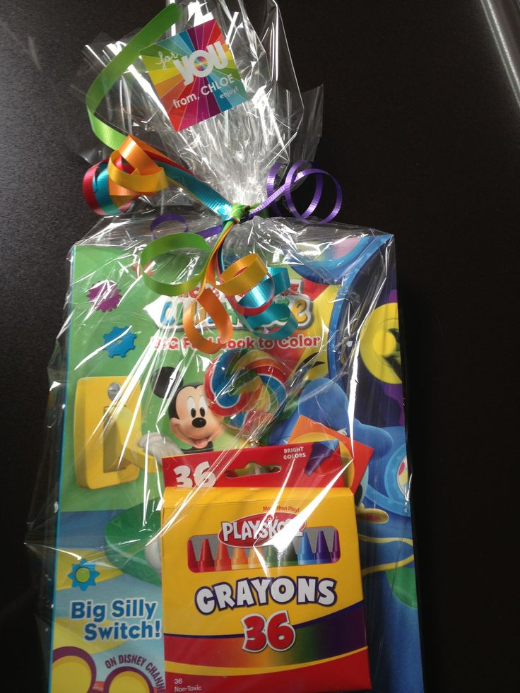 Rainbow Party - Party Favors: Box of Crayons, Mickey Mouse coloring book, stickers, lollipop, custom sticker and rainbow ribbon colors