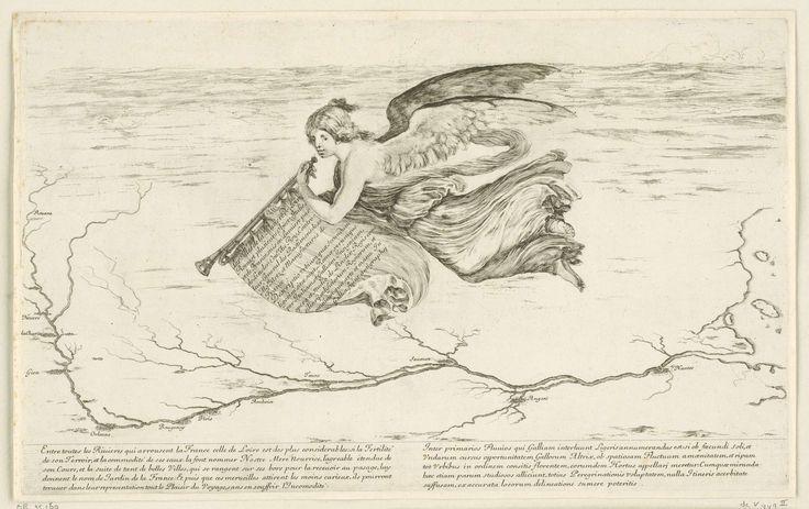 Stefano della Bella | Gevleugelde vrouw met trompet zwevend boven Frankrijk, Stefano della Bella, 1620 - 1664 | Een gevleugelde vrouw in toga met trompet, vliegend naar links. Aan de trompet hangt een doek met tekst. Ze zweeft boven een kaart van het gebied waar de rivier de Loire stroomt.