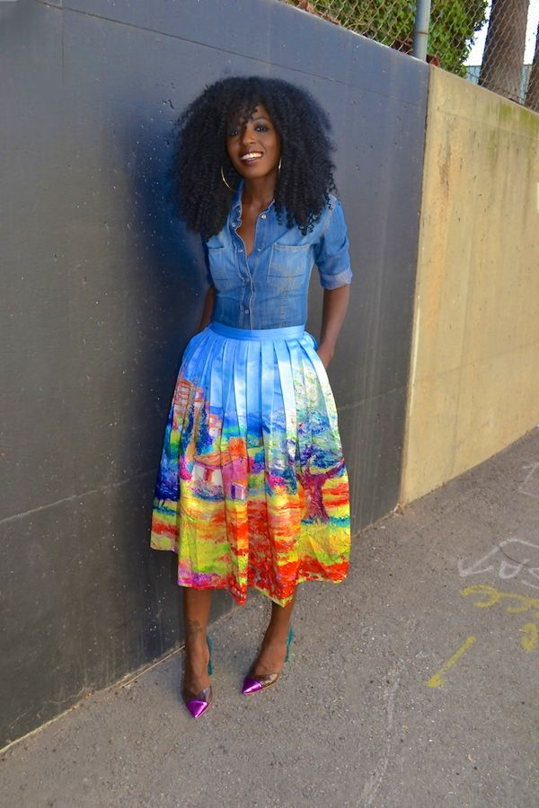 Printed midi skirt and denim skirt