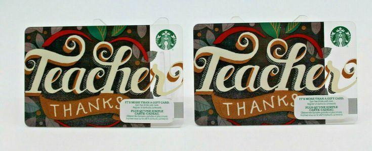 Starbucks coffee 2014 gift card teacher thanks apple black
