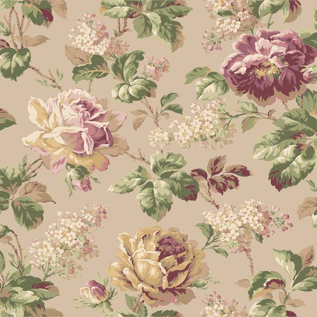 Pink and Blue Rose Floral Wallpaper, Riverside Park by York