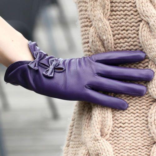Gant-Cuir-veritable-de-basane-Avec-mignon-archet-pour-concue-les-femme-elegantes