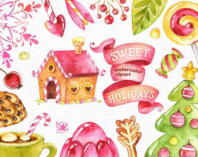 Vacanze dolce. Clipart dell'acquerello, Natale, caramelle, inverno, lecca-lecca, cartolina d'auguri, fai da te, frecce, arredamento, cono, pelliccia-albero, tazza, Natale