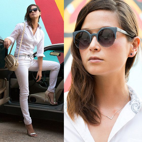 Get this look: http://lb.nu/look/7803400  More looks by Julie R: http://lb.nu/julie83  Items in this look:  Zero Uv Retro Cat Eye Sunglasses, Tatzarazzi Temporary Tattoo Earrings, Audrey Talbott Shirt   #lbwhiteout #casual #allwhiteeverything #whiteafterlaborday #white #monochrome #blackandwhite #minimal #simple