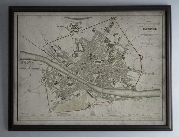 A fine art quality, vintage reproduction of an early 19th century map of Florence, Italy. These finely detailed maps were originally hand drawn and colored by pioneering cartographers. This piece not