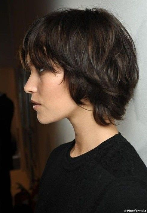 This short and charming shag hairstyle can beautifully frame the jaw-line showing off the jagged cut layers throughout the sides and back wh...