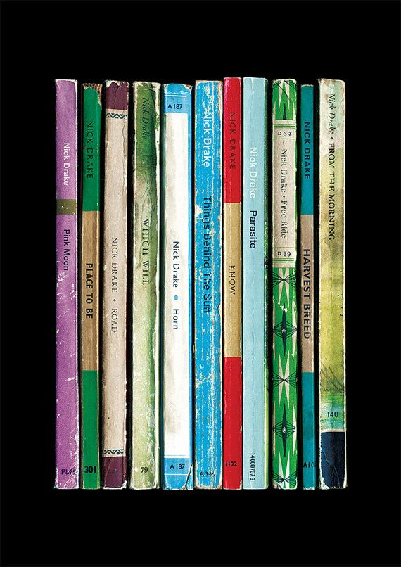 Nick Drake's 1972 album 'Pink Moon' reimagined as a collection of novels. Print available now at https://www.etsy.com/uk/listing/225809512/nick-drake-pink-moon-album-as-penguin
