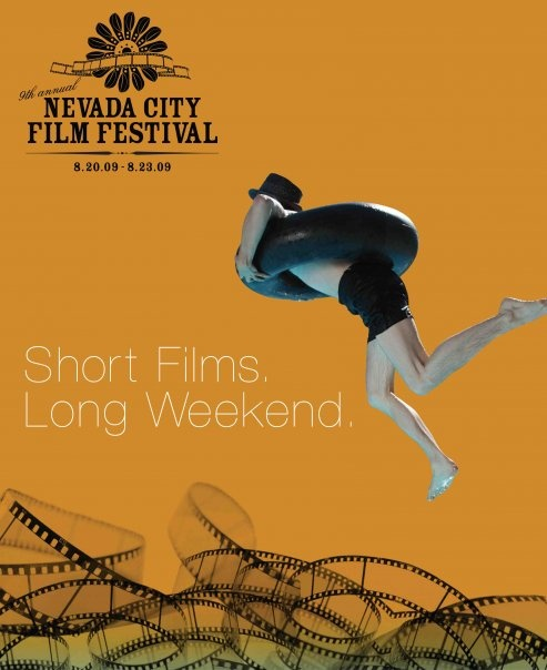 2009 Nevada City Film Festival Poster.  Art Direction by Liz Thiem.  Design by Stephanie Camp.  Photo Val Camp.  That's our friend Max, he jumped in the pool close to 50 times to get the perfect shot!