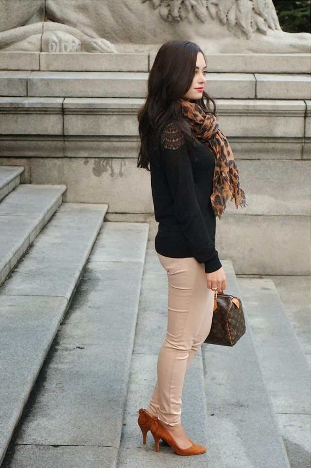 Bloggers Do It Better - Kookai sweater, American Eagle jeans, Sezane heels, Romwe scarf, Stella & Dot bracelet, Louis Vuitton bag