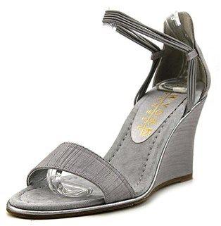 New York Transit Looking Great Women W Open Toe Canvas Silver Wedge Sandal.