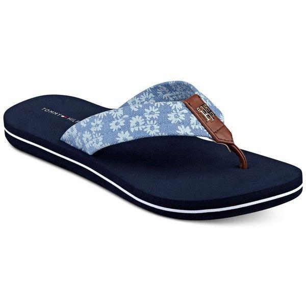 Tommy Hilfiger Clean Flip-Flop Sandals ($29) ❤ liked on Polyvore featuring shoes, sandals, flip flops, blue multi, tommy hilfiger sandals, stripe shoes, patterned shoes, blue sandals and tommy hilfiger shoes
