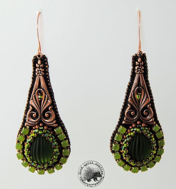 Green & Copper Drops-Beaded earrings