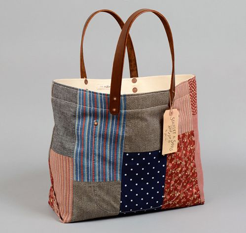 Bags like this selling at over $400! TH-S & CO. Canvas lined TOTE BAG WITH LEATHER HANDLES, PATCHWORK #3 :: HICKOREE'S