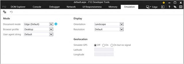 Emulation tab in FY12 Developer Tools