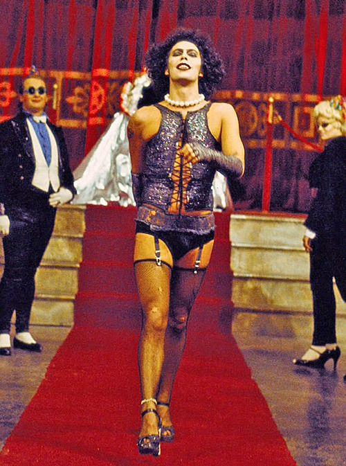 Tim Curry as Dr Frank-N-Furter, 'The Rocky Horror Picture Show', 1975.