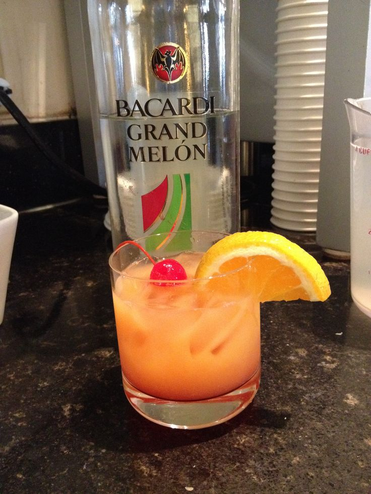 Tropical Melon Splash Bacardi Grand Melon, pineapple , OJ , and grenadine