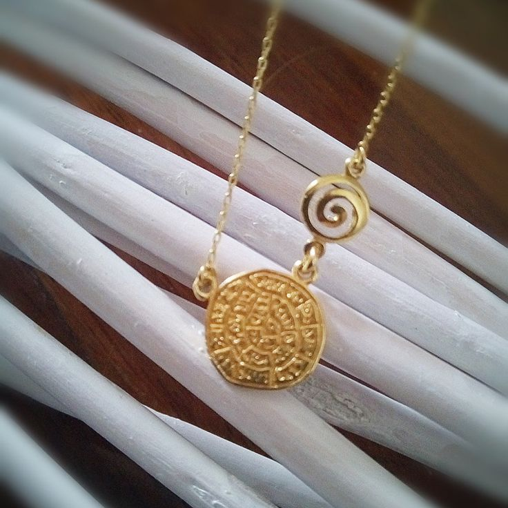 Ancient greek ,phaisto's disk,golden plated silver925 with thin chain necklace. by polasoeljewelry on Etsy